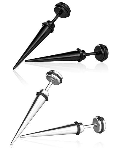 Dilatación falsa de barra Yumilok de acero inoxidable, pendiente hipoalergénico, para mujer y hombre, 2 pares (negro, plata)