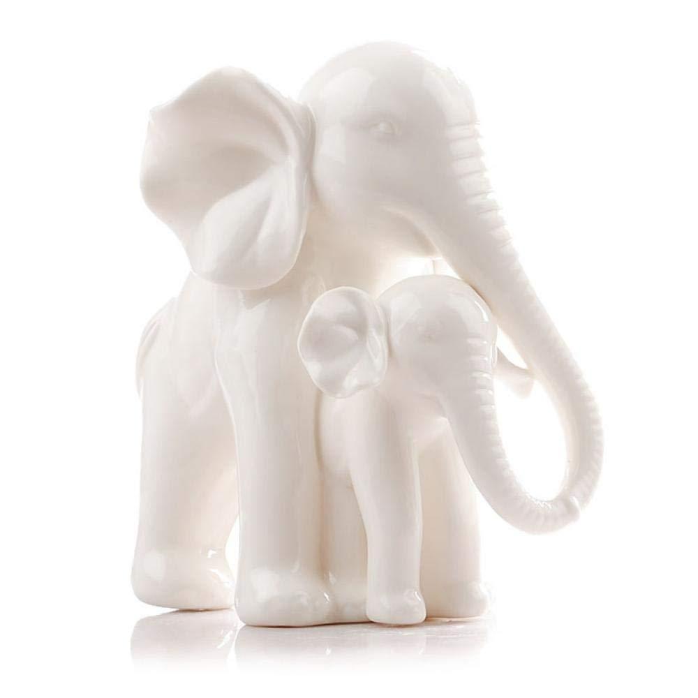 Ceramic Bone Porcelain Elephant Mother and Child Ornament Home Decoration