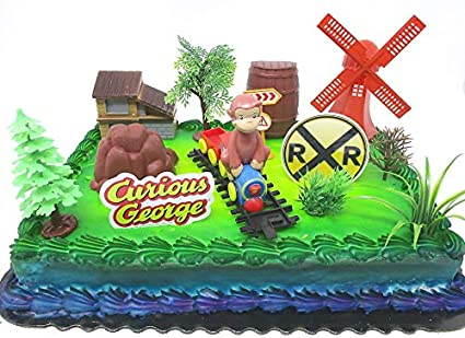 Incredible Amazon Com Curious George 16 Piece Birthday Cake Topper Set Funny Birthday Cards Online Sheoxdamsfinfo