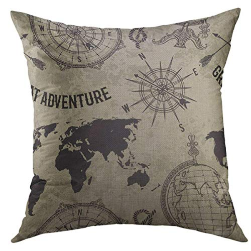 Globe Adventure - Mugod Decorative Throw Pillow Cover for Couch Sofa,Vintage Globe Compass World Map Wind Rose Retro Great Adventure in Sketch Style on Grunge Home Decor Pillow Case 18x18 Inch