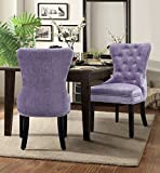 Iconic Home Diana Dining Side Accent Chair Button Tufted Velvet Upholstery Nail Head Trim Tapered Espresso Wood Legs, Modern Transitional, Purple, Set of 2