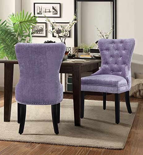 Iconic Home Catherine Dining Side Accent Chair Button Tufted Velvet Upholstery Nail Head Trim Tapered Espresso Wood Legs, Modern Transitional, Purple, Set of 2