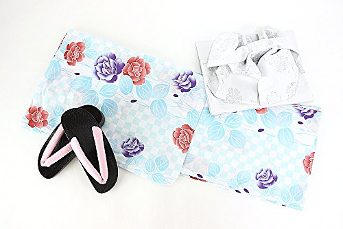 精神真珠のような親密な浴衣3点セット 浴衣+作り帯+下駄 20柄から選べる福袋 レディース 浴衣セット フリーサイズ