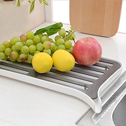 Crystallove Kithchen Plastic Dish Drainer Drying Rack Sink
