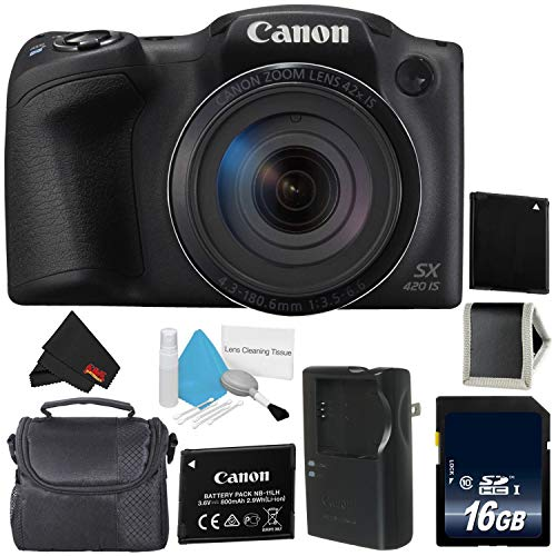 Canon PowerShot SX420 is Digital Camera (Black) 1068C001 International Model + NB-11L Lithium Ion Battery + 16GB Memory Card + Carrying Case – Bundle