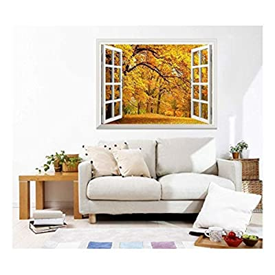 Removable Wall Sticker/Wall Mural -Autumn View with Yellow Trees Out of The Open Window Creative Wall Decor - 36