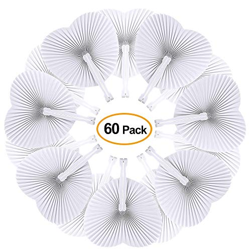 ZWIN 60PCS Heart Shaped Folding Paper Fans for Wedding Plastic Handheld Pocket Paper Fans White Paper Fans for Party Decorations -