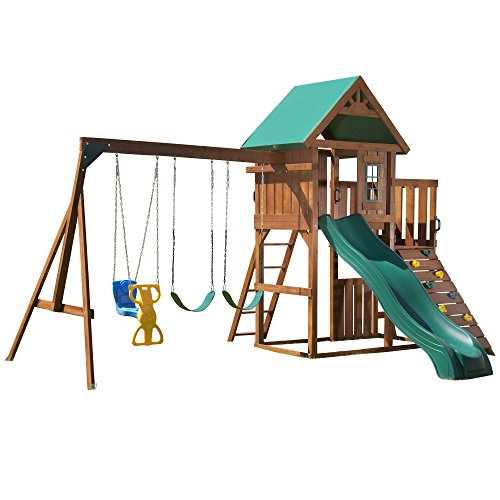(Swing-N-Slide Knightsbridge Play Set - with Two Swings, Glider Swing, Slide, Picnic Table, Climbing Wall, Accessories & Hardware)