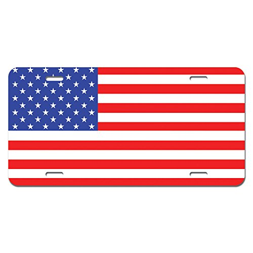 United License Plate - USA Flag United States American - Patriotic Novelty Metal Vanity License Tag Plate