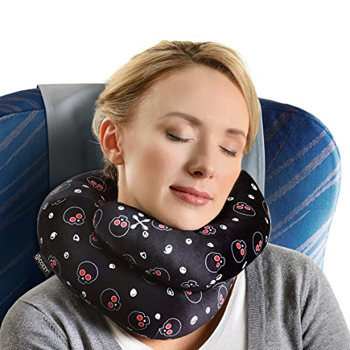 BCOZZY Chin Supporting Travel Neck Pillow - Supports the Head, Neck and Chin in Maximum Comfort in Any Sitting Position. A Patented Product. Adult Size, Black Skulls