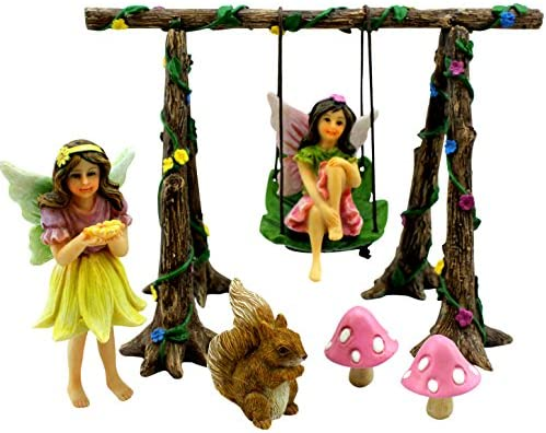 PRETMANNS Fairy Garden Accessories Miniature Fairies Fairy Swing Set with Squirrel Mushrooms Fairy Garden Supplies 9 Pieces