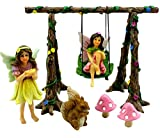 Pretmanns Fairy Garden Accessories Kit – Miniature Garden Fairies – Fairy Garden Figurines & Swing Set – Fairy Garden Supplies