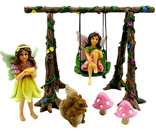 Pretmanns Fairy Garden Accessories Kit – Miniature Garden Fairies – Fairy Garden Figurines & Swing Set – Fairy Garden (Garden Figurine)