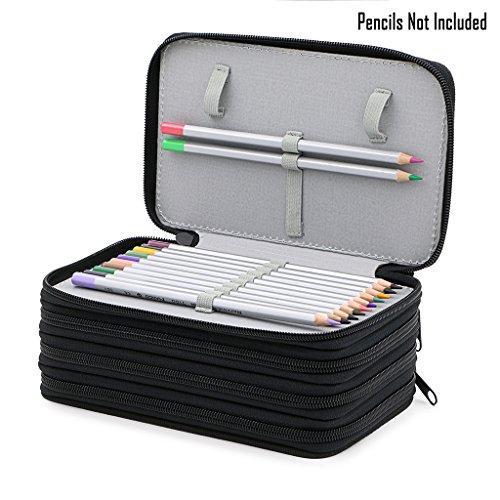 Handy Wareable Oxford Colored Pencil Bags Large 72 Slots Pencil Organizer Portable Watercolor Pencil Wrap Case (Black) Photo #4