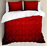 Dark Red Twin 4 Pieces Bedding Set, Antique Floral Pattern Baroque Royal Renaissance Influences Ombre Effect, Duvet Cover Set Decorative Bedspread for Childrens/Kids/Teens/Adults, Red Black