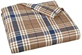 AmazonBasics Yarn-Dyed Lightweight Flannel Duvet Cover - Full/Queen, Brown Plaid