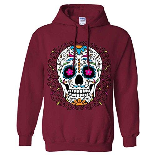 Dia De Los Muertos Pastel Sugar Skull Sweatshirt Hoodie - Cardinal Red X-Large