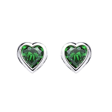 9bea2af87 Amazon.com: 14K White Gold Plated Sterling Silver Heart Bezel 4mm CZ  Birthstone Stud Screw Back Earrings For Children & Women (May, Emerald):  Jewelry