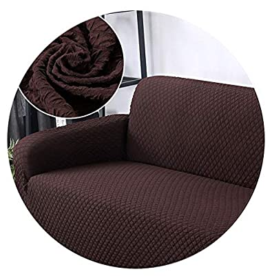 Jacquard Fabric fit 1/2/3/4 Seater Sofa Cover Stretch Elastic Sofa Covers slipcovers Couch Cover Furniture Christmas Decoration,Brown,3 seat 190-230cm
