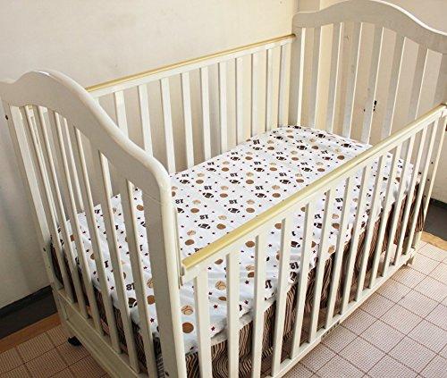 NAUGHTYBOSS Boy Baby Bedding Set Cotton Cartoon Bear Play Baseball Pattern Quilt Bumper Bedskirt Fitted Diaper Bag 8 Pieces Set Blue by NAUGHTYBOSS (Image #8)