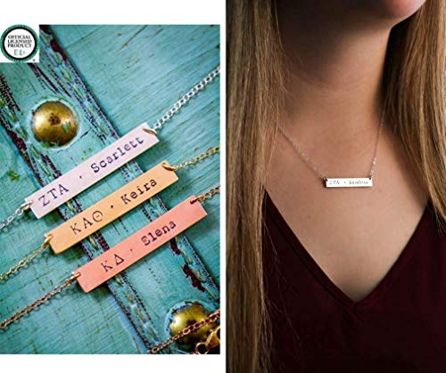 Custom Greek Letter Name Necklace - ROI - 1.5 inch 40MM Bar - Personalized Sorority Sister Gift - Handstamped Sterling Silver Rose Gold Jewelry - Fast 1 Day - Greek Name Necklace