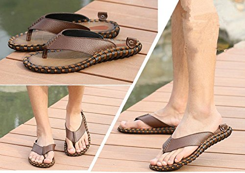 2017 verano nuevo cuero flip-flop de los hombres, sandalias tendencia de la primera capa de piel hechos a mano sandalias de la personalidad Brown