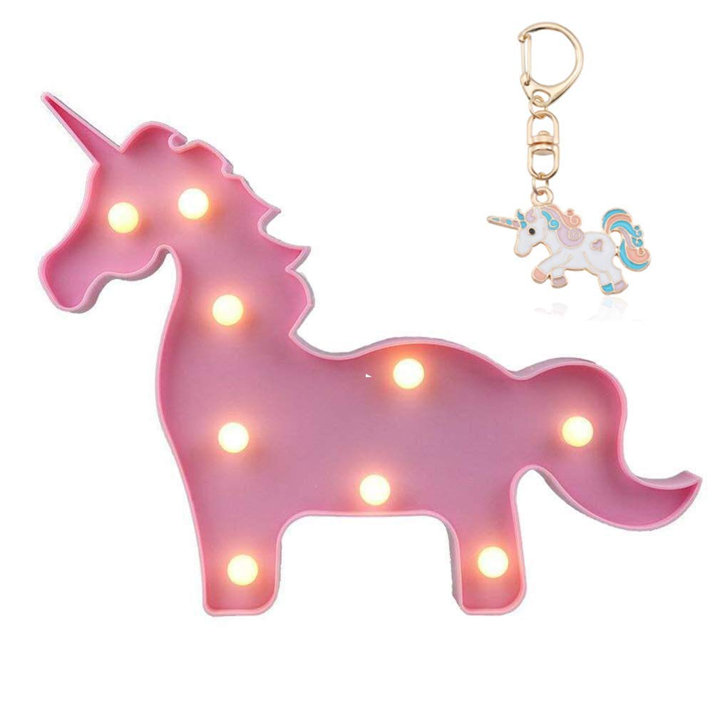 Fengyao Unicorn Night Light Battery Operated Table Led Lights Wall Decoration,Unicorn Toys Decor, Pink Body and White Lamp, 11.8 x 9.3""
