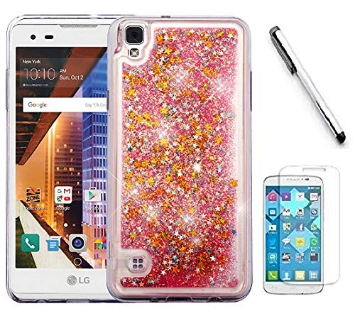 LG Tribute HD LS676 / Lg X Style case, Luckiefind Hybrid Liquid Quicksand Glitter Fused Hybrid Hard PC TPU Cover Case (Quicksans - Liquid Style