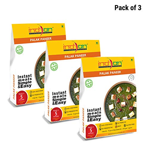 Indian Kitchen Foods Spinach with Cottage Cheese and Sauce (Palak Paneer) - Freeze Dried Gluten-Free Gourmet Indian Entree Ready in 5 min Vegetarian Meal - Each Rehydrated, Pack of 3, 9.50 oz