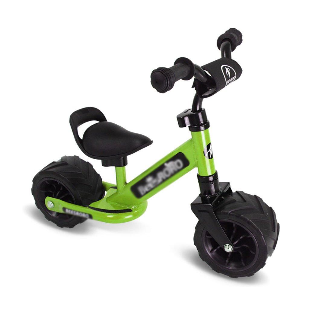バランスの車は、膨張する必要はありませんペダルなしの子供のスクーターベビースクーター子供の車子供ダブルホイール自転車ベビースクーター2ラウンド13歳  Green B07F6WT54Z