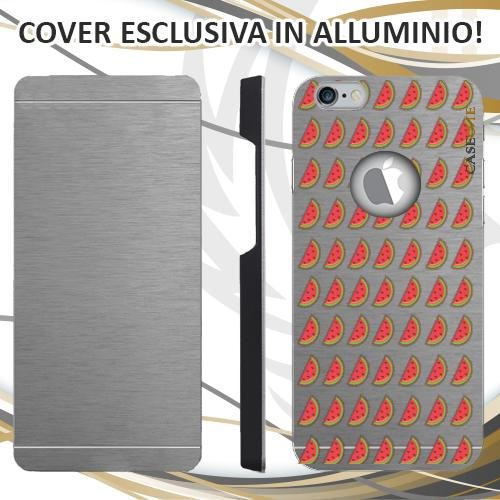 CUSTODIA COVER CASE ANGURIA PATTERN PER IPHONE 6 ALLUMINIO TRASPARENTE
