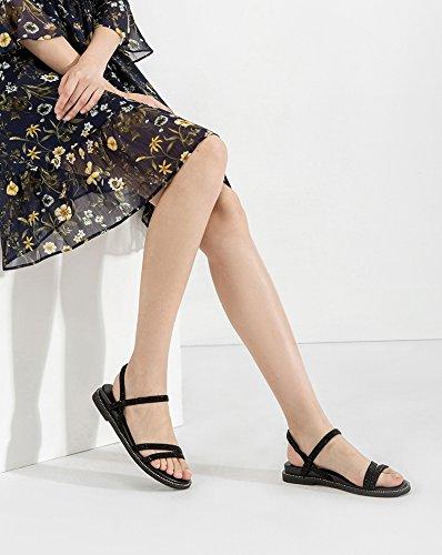 Pantofole a piatti Nero basso donna Tacchi tacco alla basso Sandali estivi DHG Sandali moda da Sandali tacco con 36 casual alti pBxnEgq