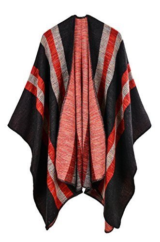 Hiwil Womens Autumn Casual Fashion Cardigan Faux Wool Plus Size Blanket Ponchos Shawls Scarf Red One Size
