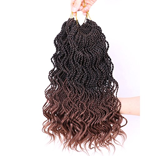 DAIRESS (6 Packs) 14Inch 35strands Wavy Senegalese Twist Crochet Hair Braids Wavy Ends Free Synthetic Hair Extensions Kanekalon Curly Crochet Twist Braiding Hair (#30)