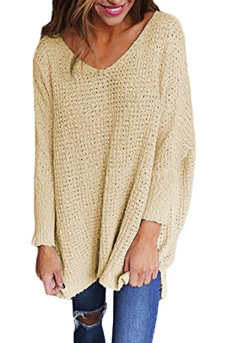 Viottis+Women%27s+Knitted+Pullover+Sweater+Long+Sleeve+V-Neck+Loose+Top+Apricot+M