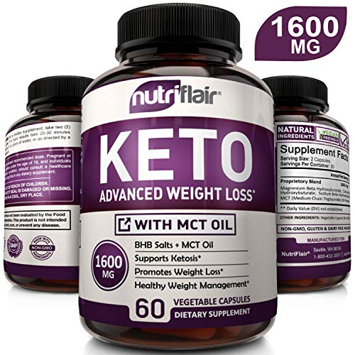 Best Keto Diet Pills 1600mg Advanced Weight Loss Ketosis Supplement - Natural BHB Salts (beta hydroxybutyrate) Ketogenic Carb Blocker and Fat Burner - Best Keto Capsules - for Women and Men