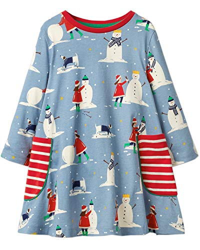 Girls Cotton Long Sleeve Casual Cartoon Appliques Striped Jersey Dresses (7T,