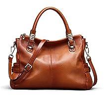 Kattee Womens Genuine Leather Tote Satchel Shoulder Handbag