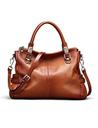 Kattee Women's Genuine Leather Tote Satchel Shoulder Handbag