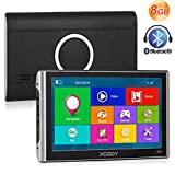 Xgody 826 Bluetooth 7 Inch 256MB/8GB ROM Capacitive Touchscreen Car Truck GPS Navigation System with Sun Shade Lifetime Maps Update Speed Limit Displays(826BT+SC)