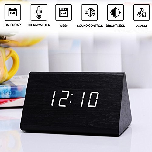 Alarm Clock,Wood Digital Alarm Clock, Wooden Wake Up Bedside Travel Alarm Clock with Time Temperature Humidity Sound Control Led Alarm Clock for Home Bedroom Office-triangle by Girlsight (Image #6)