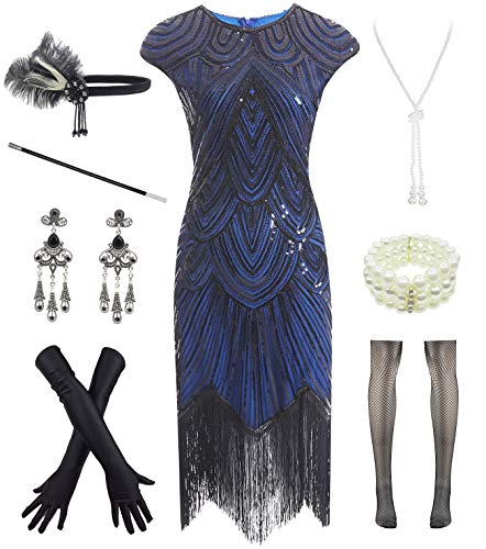Letter Love Women 1920s Vintage Flapper Fringe Beaded Gatsby Party Dress with 20s Accessories Set Black Blue, Large -