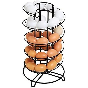Modern Spiral Design Kitchen Counter-Top Black Metal Egg Skelter / Storage Organizer Rack for Eggs