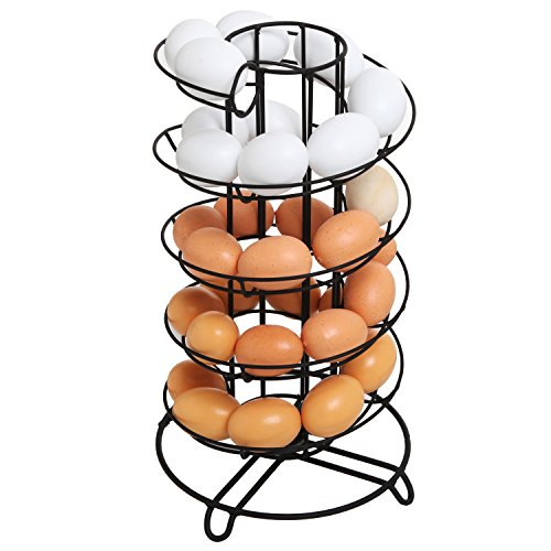 Modern Spiral Design Kitchen Counter-Top Black Metal Egg Skelter / Storage Organizer Rack for Eggs (Rack Egg Fresh)