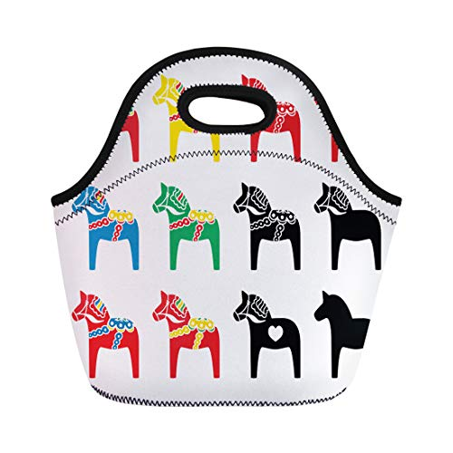 - Semtomn Neoprene Lunch Tote Bag Red Folk Swedish Dalecarlian Dala Horse Blue Dalahorse Sweden Reusable Cooler Bags Insulated Thermal Picnic Handbag for Travel,School,Outdoors,Work