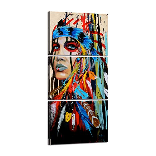 3 Pieces Native American Indian Girl Wall Art Canvas Painting Women Chief with Colorful Feathers Ethnologic Accessories Modern Poster Picture Verical Artwork Home Decor for Living Room (28''Wx60''H)
