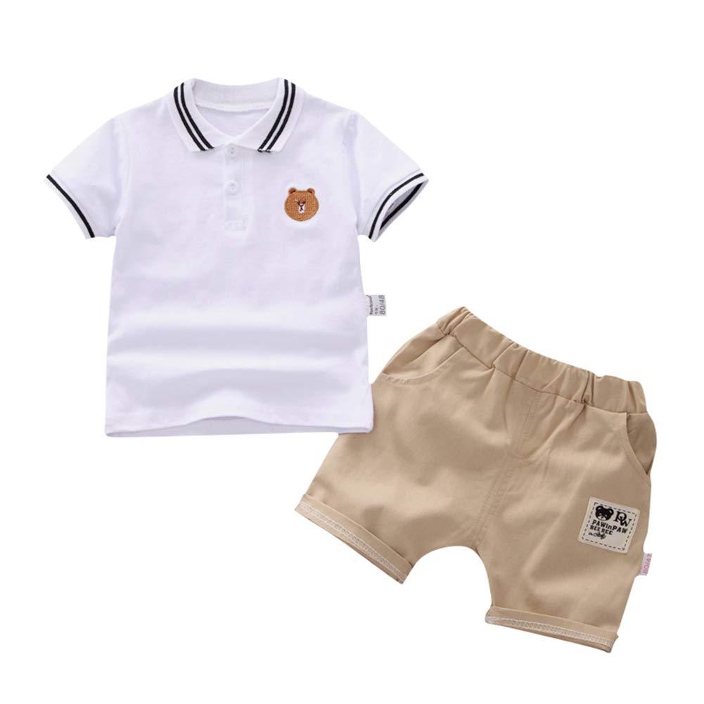 SZBYKJ Kids Boys Tracksuits Sportwear Summer Cute Bear Embroidery Shirt + Shorts 2pcs/Set White 90 by SZBYKJ