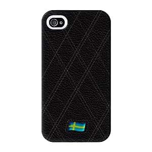 Stylish Black Leather Flag of Sweden abrigo lleno blanca carcasa iPhone 4 de UltraFlags