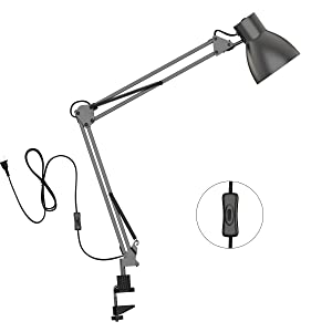 ToJane Swing Arm Desk Lamp,Architect Table Clamp Mounted Light, Flexible Arm Drawing/Office/Studio Table Lamp,Grey Metal Finish