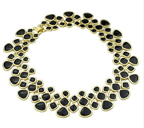 Statement Necklaces Gold Color Black Enamel Maxi Choker Necklaces For Women